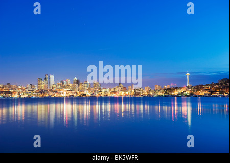 Downtown buildings and Space Needle seen from Lake Union, Seattle, Washington State, United States of America, North - Stock Photo