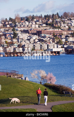 Residential houses on Lake Union from Gas Works Park, Seattle, Washington State, United States of America, North - Stock Photo