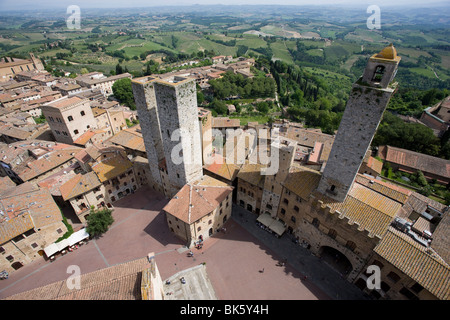 Aerial view of Sam Gimignano from one of its medieval stone towers, UNESCO World Heritage Site, Tuscany, Italy, - Stock Photo