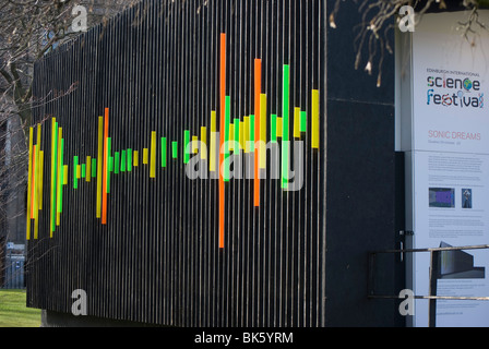 Decorative perspex pattern on the Box Office for the Science Festival in Edinburgh. - Stock Photo
