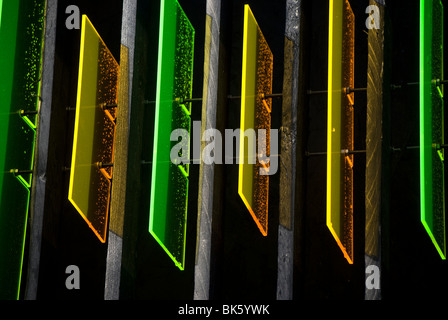 Decorative perspex detail on the Box Office for the Science Festival in Edinburgh. - Stock Photo