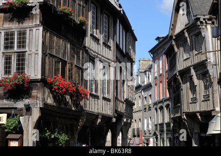 Street of half timbered houses, Dinan, Cotes d'Armor, Brittany, France, Europe - Stock Photo
