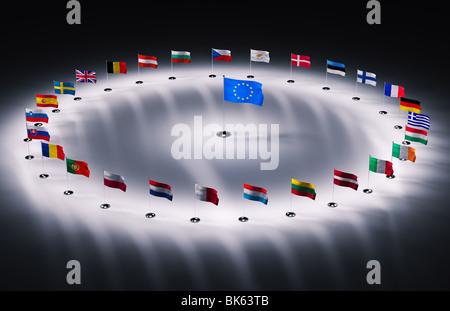 twenty seven european union flags 3d render - Stock Photo
