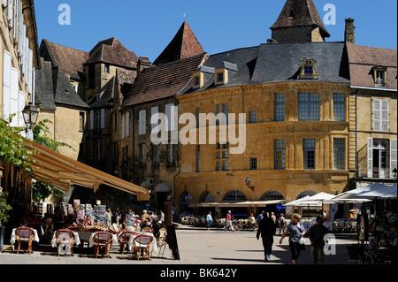 Place de la Liberte in the old town, Sarlat, Dordogne, France, Europe - Stock Photo