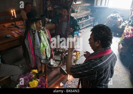 Shrine of El Maximon, Santiago Atitlan, Lake Atitlan, Guatemala, Central America - Stock Photo