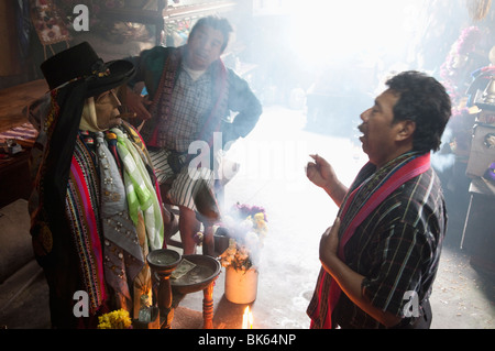Shrine of El Maximon, Santiago Atitlan, Lake Atitlan, Guatemala, Central America - Stock Photo