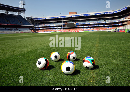 2010 FIFA World Cup, German-South African Cooperation, soccer balls with German and South African flags at Loftus - Stock Photo