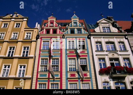 poland, wroclaw, rynek, old town houses - Stock Photo