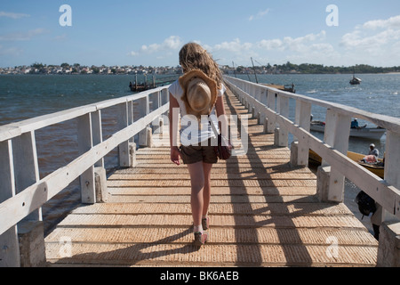 Woman On Boardwalk, Lamu Archipelago, Kenya, Africa - Stock Photo