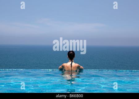 splendid swimming pool in a hotel resort in Kerala state indi - Stock Photo
