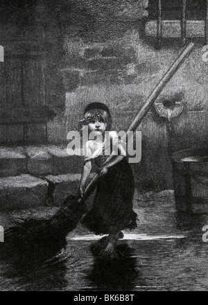 LES MISERABLES - Cosette as drawn by Emile Bayard for the novel by Victor Hugo - Stock Photo