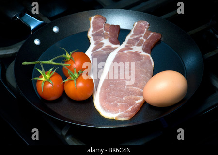 Egg, Bacon and Tomato, Ingredients For A Traditional English Breakfast - Stock Photo