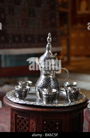 Arabic coffee set in  Souq Waqif,Doha,Qatar - Stock Photo