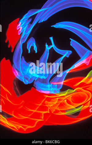 twirling colored lights abstract 'nightzoom' - Stock Photo