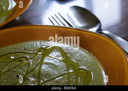 Pureed vegetables dishes on the table - Stock Photo