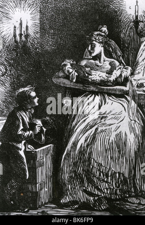 GREAT EXPECTATIONS - Miss Havisham in her bridal gown frightens Pip in one of Marcus Stone's engravings for the - Stock Photo