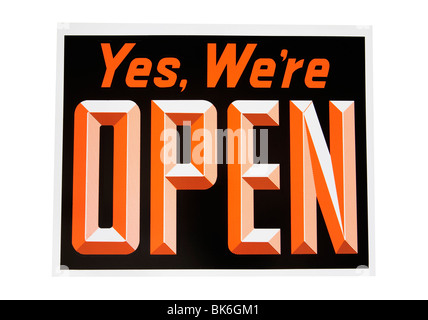 Open sign, includes clipping path - Stock Photo
