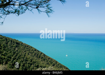 View of the Ligurian Sea from Populonia Alta - Stock Photo
