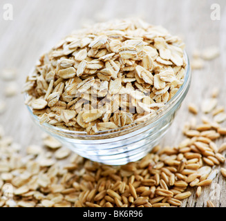 Nutritious rolled oats heaped in a glass bowl - Stock Photo