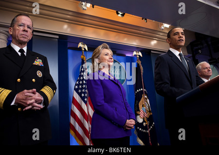 President Barack Obama makes a statement on the START treaty in the Brady Briefing Room of the White House, March - Stock Photo