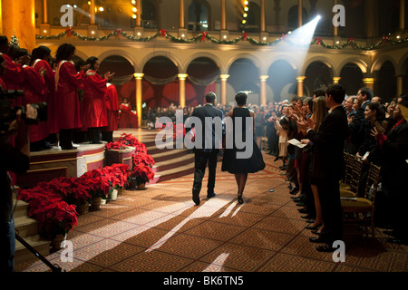 President Barack Obama and First Lady Michelle Obama attend the 'Christmas in Washington' taping at the National Building Museum Stock Photo