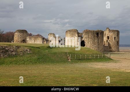Flint Castle by River Dee, Flint, Flintshire, North Wales - Stock Photo