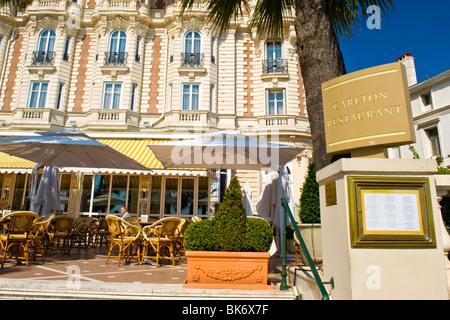 Cannes , Boulevard de la Croisette , terrace restaurant & menu & sign of the luxury Carlton Inter Continental Hotel
