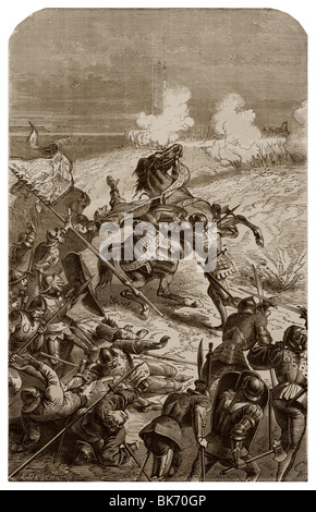 In 1453, John Talbot's death, during the Battle of Castillon. - Stock Photo