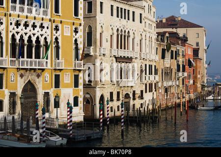 Palazzo Franchetti Cavalli and Palazzo Barbaro near Accademia Bridge, Grand Canal Venice, Italy - Stock Photo