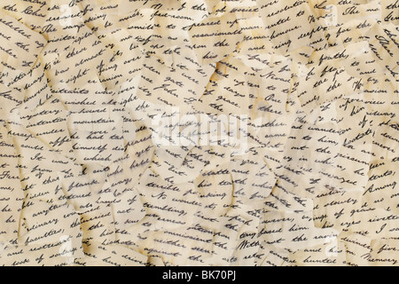 Background made of torn letters. Please note: the image may appear grainy, but that is the structure of the paper. - Stock Photo