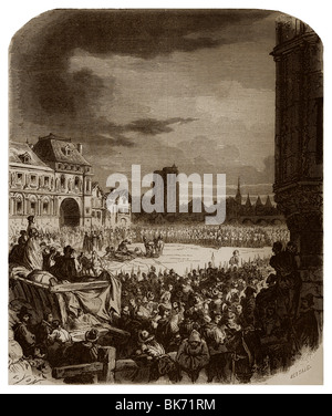 On 27th May 1610, François Ravaillac was quartered in the Place de Grève of Paris to have assassinated King Henry - Stock Photo