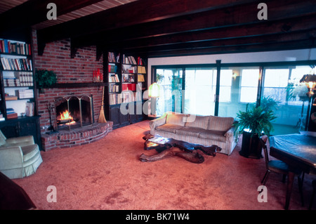 Single Family House, Interior Living Room, Fireplace, Wood Beamed Ceiling, - Stock Photo
