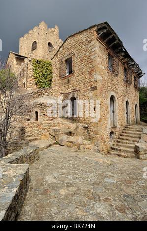 castle of Recasens, La Jonquera, Alt Empordà, Girona, Spain - Stock Photo