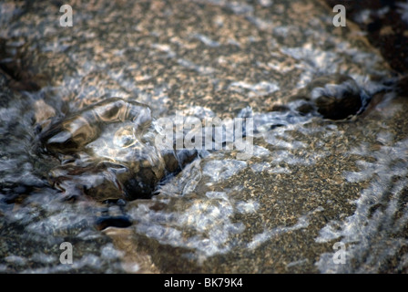 Water bubbling-up through paving stones, due to a burst water pipe. - Stock Photo