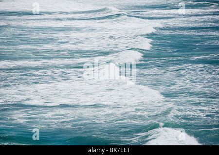 aerial view of waves on Muriwai Beach - Stock Photo