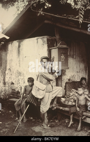 Photograph of the first post service in Thailand circa 1890, Thailand, Southeast Asia, Asia&#10, - Stock Photo