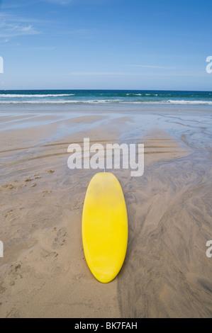 Lifeguard surfboard on st ives beach - Stock Photo