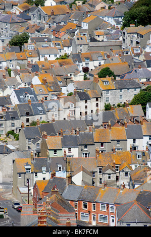 Terraced houses on isle of portland - Stock Photo