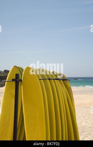 Surfboards at st ives in cornwall - Stock Photo