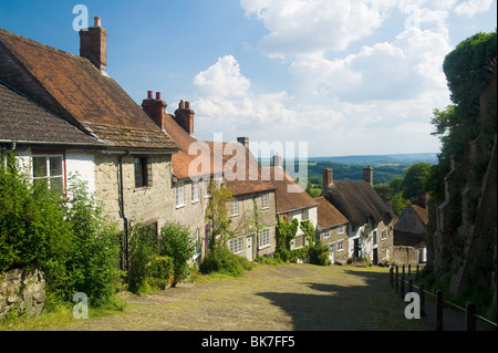 Gold hill in shaftesbury - Stock Photo