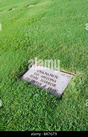 military grave marker, unidentified, USS Arizona, Pearl Harbor attack, Dec. 7, 1941 at Cemetary Of The Pacific, - Stock Photo