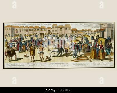 Illustration of the city of Goa from the Itinerario of Jan Huygen van Linschoten - Stock Photo