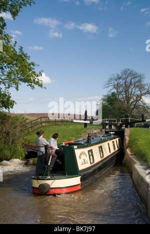 Narrow boat on the Llangollen Canal going through the Locks at Grindley Brook, Shropshire, England, United Kingdom, - Stock Photo