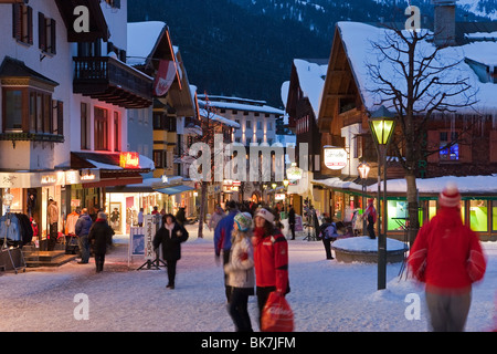 Main street in winter, St. Anton am Arlberg, Tirol, Austria, Europe - Stock Photo