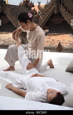 Thai Massage at the Dheva Spa at the Mandarin Oriental Dhara Dhevi, Chiang Mai, Thailand, Southeast Asia, Asia - Stock Photo