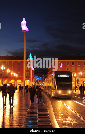 Europe France Nice Cote d'Azur Provence The Nice Tramway using electricity for power- Place Massena or Massena Square - Stock Photo