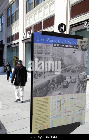Washington DC,10th Street NW,Downtown Heritage Trail,marker,street,sidewalk,sign,self guided walking trail,Civil War to Civil Rights,history,poster,in