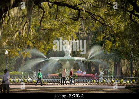 Fountain in Forsyth park, Savannah, Georgia - Stock Photo