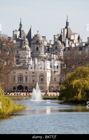 View of the Horse Guards Parade from St James Park, London - Stock Photo