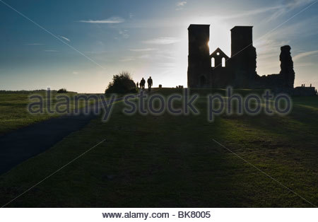 Reculver Towers in evening light, Kent, UK. - Stock Photo